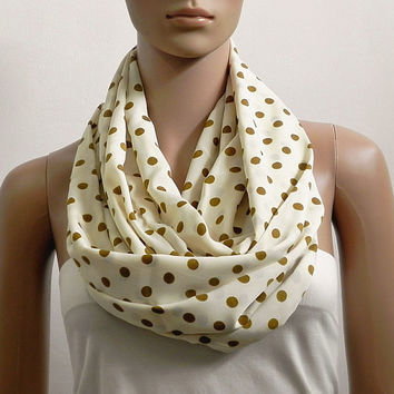 Gold Polka Dot Infinity Scarf Shawl Long Soft Cream Fashion Scarves for Women Cowl Scarf Tube Scarf Summer Scarf Gift for her Handmade