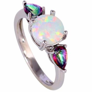 Rainbow White Fire Opal Silver Ring
