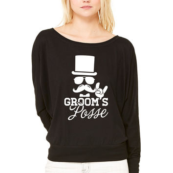 Groom Wedding Marriage Stag night bachelor party WOMEN'S FLOWY LONG SLEEVE OFF SHOULDER TEE