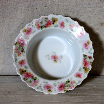 antique german small dish finger bowl condiment  // porcelain small bowl // floral pattern // late 1800s early 1900s