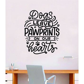 Dogs Paw Prints Hearts Wall Decal Decor Art Sticker Vinyl Room Bedroom Home Funny Teen Baby Girl Boy Animals Cute Puppy Vet Adopt Rescue