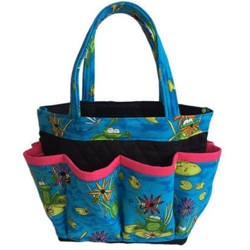 Frogs on Lily Pads Bingo Bag // Craft Organizer // Makeup Organizer // Caddy // Teacher Tote // Nurse Tote