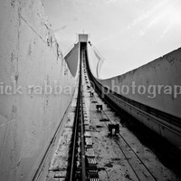 Olympic Stadium Funicular Montreal Fine Art Photography Urban View Architecture Black and White Modern Minimalistic