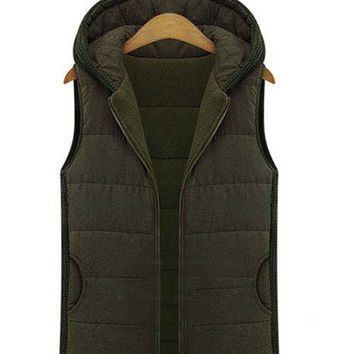 'Kay' Hooded Knit Utility Puffer Vest Jacket