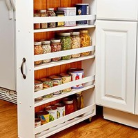 Large Slim Rolling Slide Out Kitchen, Bath, or Laundry Storage Cabinet Can Organizer