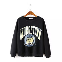 Letter Cartoon Print Sweater