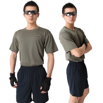 Outdoor Mens Summer Sport Clothes Short Sleeved T-shirt+Shorts Suit Army Fan Military Tactical Physical Fitness Training Clothes