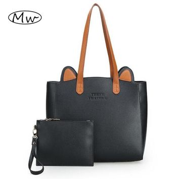 High Quality Big Tote Bag 2016 Autumn Winter Women Leather Handbags Cute Cat Ears Shoulder Bag Mom Shopping Bag Bolsos MujerM396
