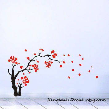 cherry blossom tree wall decals sticker birds home decor for children baby kids room  X044