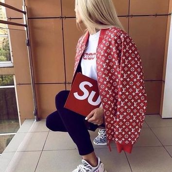 louis vuitton x supreme red leather blouson monogram jacket