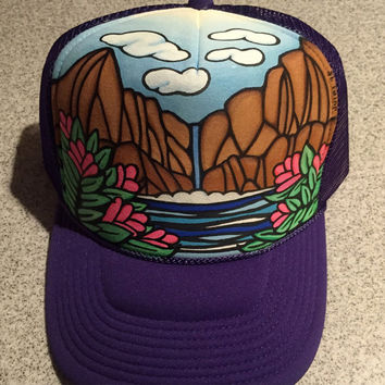 Purple mountain waterfall floral handpainted trucker hat