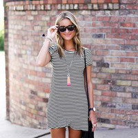 Loose Black And White Striped T Shirt Dress