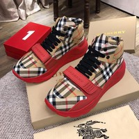 Burberry Men's Leather Fashion High Top Sneakers Shoes-KUYOU