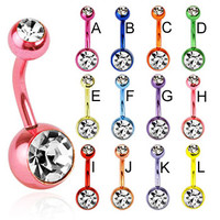 Neon titanium anodized double jeweled belly ring