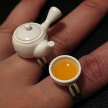 Asian Tea Cup and Teapot Rings Set by charlieccbb on Etsy