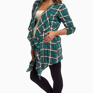 Green-Plaid-Lace-Back-Maternity-Cardigan