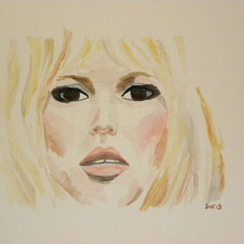 Brigitte Bardot. The one and only, original, watercolor.