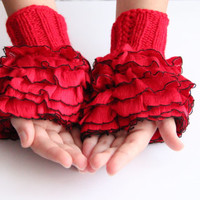 Fingerless Gloves: Hand Knit elegant ruffled red gloves, frilly gloves red
