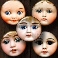 Vintage Doll Faces - Ditigal Collage Sheets CB-091 - 20mm, 18mm, 16mm, 14mm and 12mm circles - Printable Downloads for Jewelry, Arts, Crafts