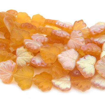 Czech Glass Maple Leaves 10x13 Yellow Matte Luster 10 Pieces  B309