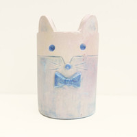 Tiny White and Blue Trinket Pot with Mouse Face and Ears, Treasure Holder, Desk Organiser