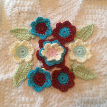 Hand Crochet Flowers Appliques Embellishments-Set of 11 Key Lime Pie Green Teal Blue Creamy White Princess Pink and Apple Red