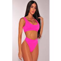 Pink Bikini 2017 Sexy Beach High Waist Swimwear Women Sporty Bikini Bathing Suit Push up Thong Swimsuit Womens Swimwear