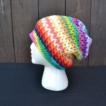 Rainbow Hat - Slouchy Crochet Hat - Slouchy Beanie - Dread Tam - Dreadlocks - Music Festivals - Hippie - Summer Fashion