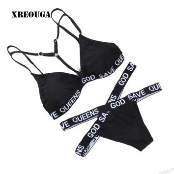 X-type Women Swimsuit Bandage GOD SAVE QUEENS Letter Printed Bikinis Women Sexy Active Bathing Suit Bad Girl Biquini Bikini Set