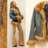 Denim and Faux Fur Hippie Rockstar Coat | Womens Size S M Vintage 90s does 1970s | Indian Ethnic Embroidered Boho Jean Jacket Winter Parka