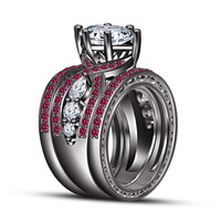 Pink Sapphire Bridal Wedding Ring Set Black Plated 925 Silver With Free Earring!