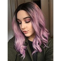 Short Ash Pink Ombre Bob Synthetic Lace Front Wig