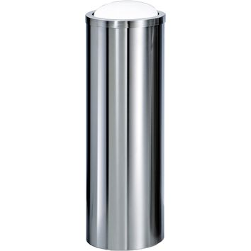 DWBA Round Tall Stainless Steel Wastebasket Trash Can W/ Swing Lid. Polished / Matte Finish