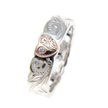 SILVER 925 HAWAIIAN SCROLL RING ROSE GOLD PLATED HEART CZ RHODIUM THICK HEAVY