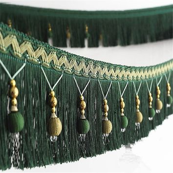 12meters Braided Beads Hanging Ball Tassel Fringe Trimming Applique Fabric Trimming Ribbon Band Curtain Table Wedding Decorated