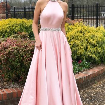Evening Dress Beaded Halter Satin Long Prom Dresses