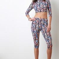 Patterned Print Capri Leggings