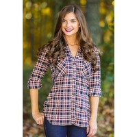 After All This Time Plaid Blouse