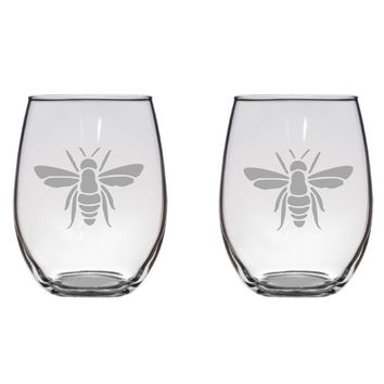 Honey Bee Engraved Glasses, Insect, Gift, Cute Free Personalization