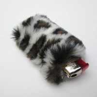 SALE Leopard Print Lighter Case, Furry Bic Lighter Cover, Briquet, Faux Fur