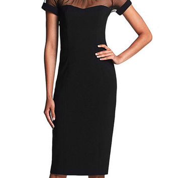 Black Mesh Short Sleeve V-Cut Back Bodycon Midi Dress