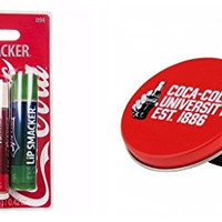 Coca-Cola Lip Smackers 3 Lip Balm Sticks Flavored Scented Coke, Coke Vanilla, Sprite with BONUS Collectors Tin Pot of Lip Gloss