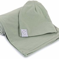 Cotton Knit Jersey Swaddle Blanket and Beanie Gift Set, Large Receiving Blanket - Sage