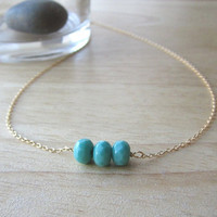 Teal Green Vintage Glass Beads Gold Necklace - simple everyday wear by Yameyu