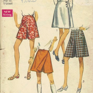 Simplicity 8740 Sewing Pattern 70s Retro Pantskirt Summer Bermuda Shorts Skirt Skort Gauchos Plus Size Full Figure Large Waist 40