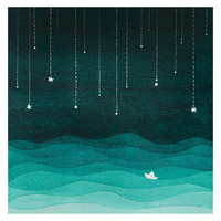 Print sailboat sea night stars watercolor illustration teal - emerald green nursery art