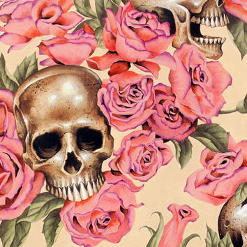 NEW Resting in Roses Day of the Dead- Alexander Henry Skeleton 1 Yard Fabric