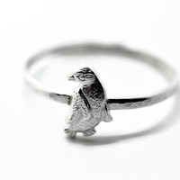 Sterling Silver Penguin Ring Silver Bird Ring by fifthheaven