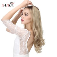 "SARLA 20"" Synthetic Flip In Natural Wave Hair Extensions Halo Wire Hidden Hairpieces High Temperature Fiber No Clips No Glue M01"
