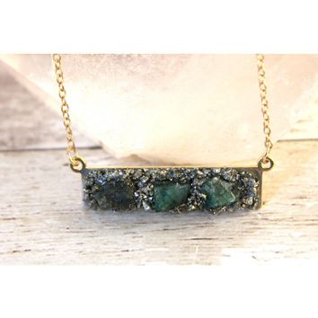 Raw Emerald May Birthstone Gemstone Necklace